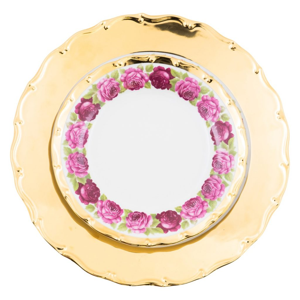 Set plate 32cm rose garden by gloria gloria for Cuisine rose